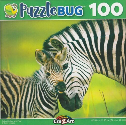 NEW CraZArt Puzzlebug 100 Piece Jigsaw Puzzle ~ Zebra Mother and Foal