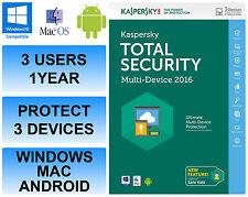 Kaspersky Total Internet Security 2016 Multi Device 3 User 1 Year FFP Retail DVD
