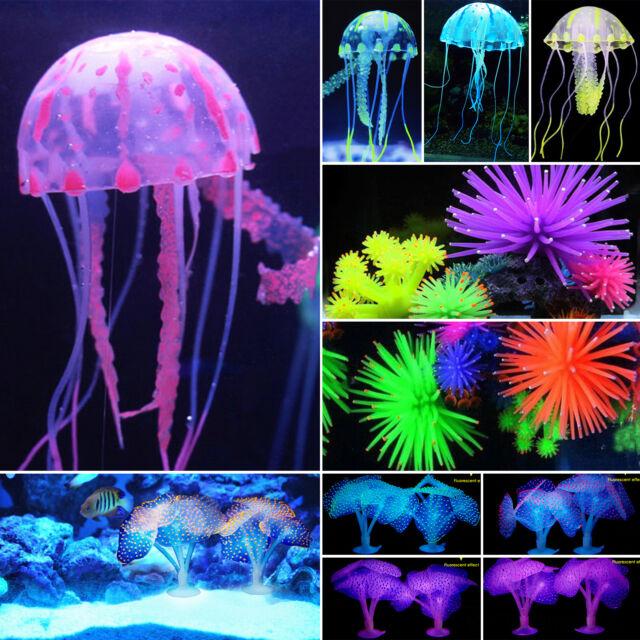 Silicone Artificial Fish Tank Aquarium Coral Jellyfish Ornament Decoration Light