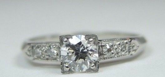 Antique Vintage Diamond Engagement Ring Platinum Ring Size 5.75 UK-L EGL USA