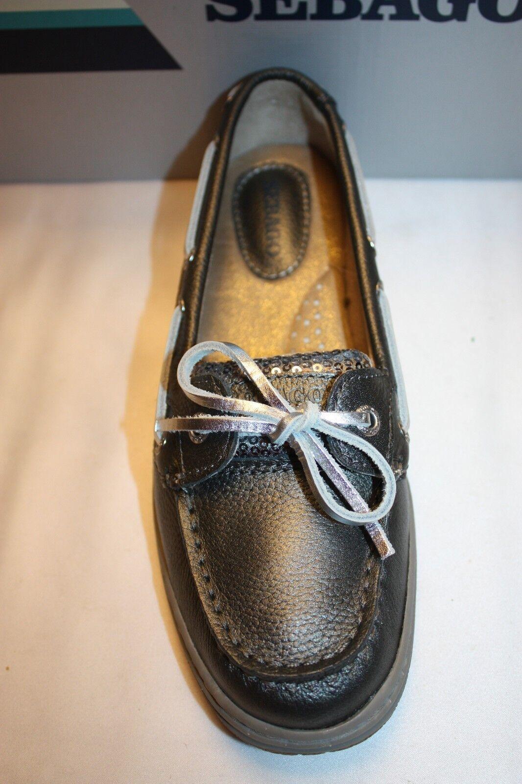 NEW  NIB  Pewter SEBAGO Metallic Pewter  Leder SKIMMER Sequin Boat Schuhes Slip Ons f45984