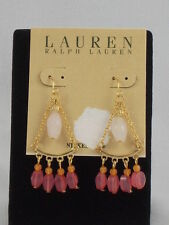 Ralph Lauren Goldtone Nickel Free Rose Quartz Pink Orange Chandelier Earrings