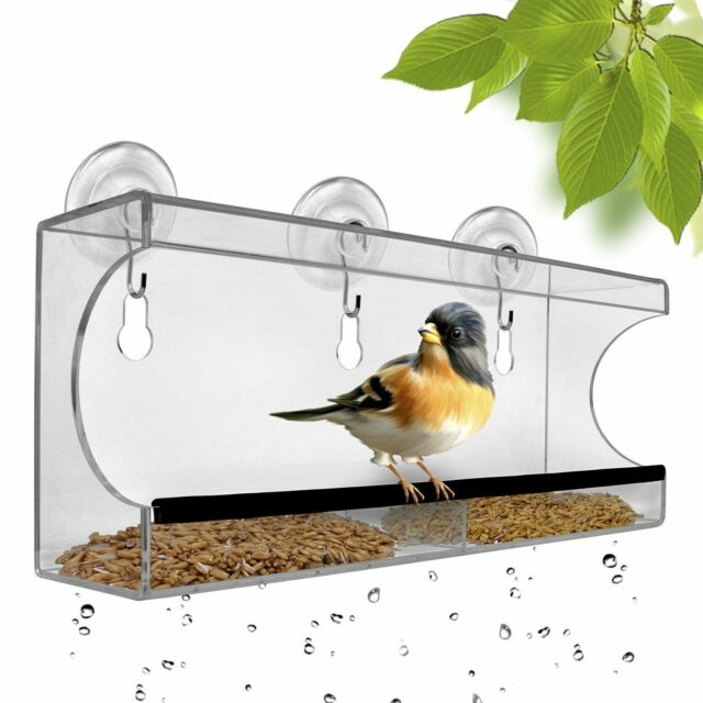 Wonderful Large Window Bird Feeder Acrylic Hanging Seed Mount Tray Cups See Through  Clear