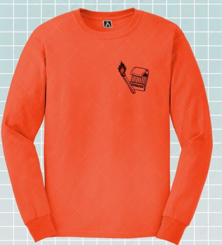 Matchbox Long Sleeve T-shirt Chest Retro Print Fire Tee Lit Rebel Indie Top