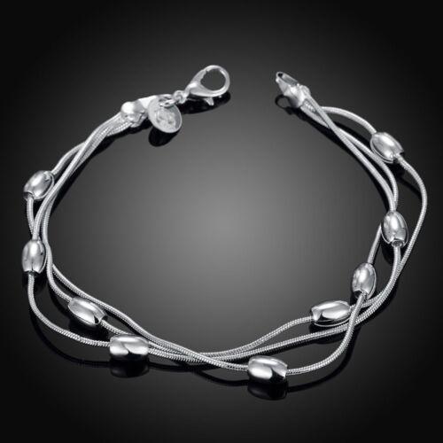 Fashion 925 Sterling Argent Massif Bijoux 3 Chaîne Perles Bracelet Pour Femmes H236