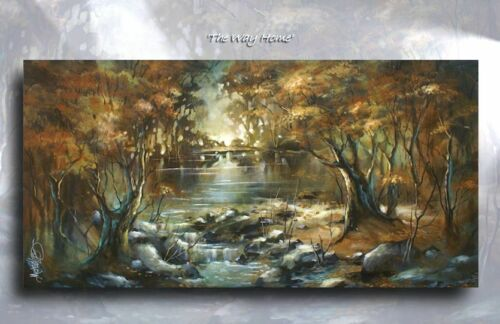 Landscape Art Giclee canvas print /'The Way Home/' Contemporary DECOR Mix.Lang