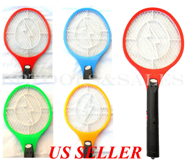 2X Electronic Bug Zapper Mosquito Insect Electric Fly Swatter Racket Bat Yellow