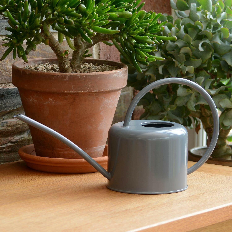 Indoor Small Grey Watering Can Metal Galvanised Steel Mini 1.1L Narrow Spout UK