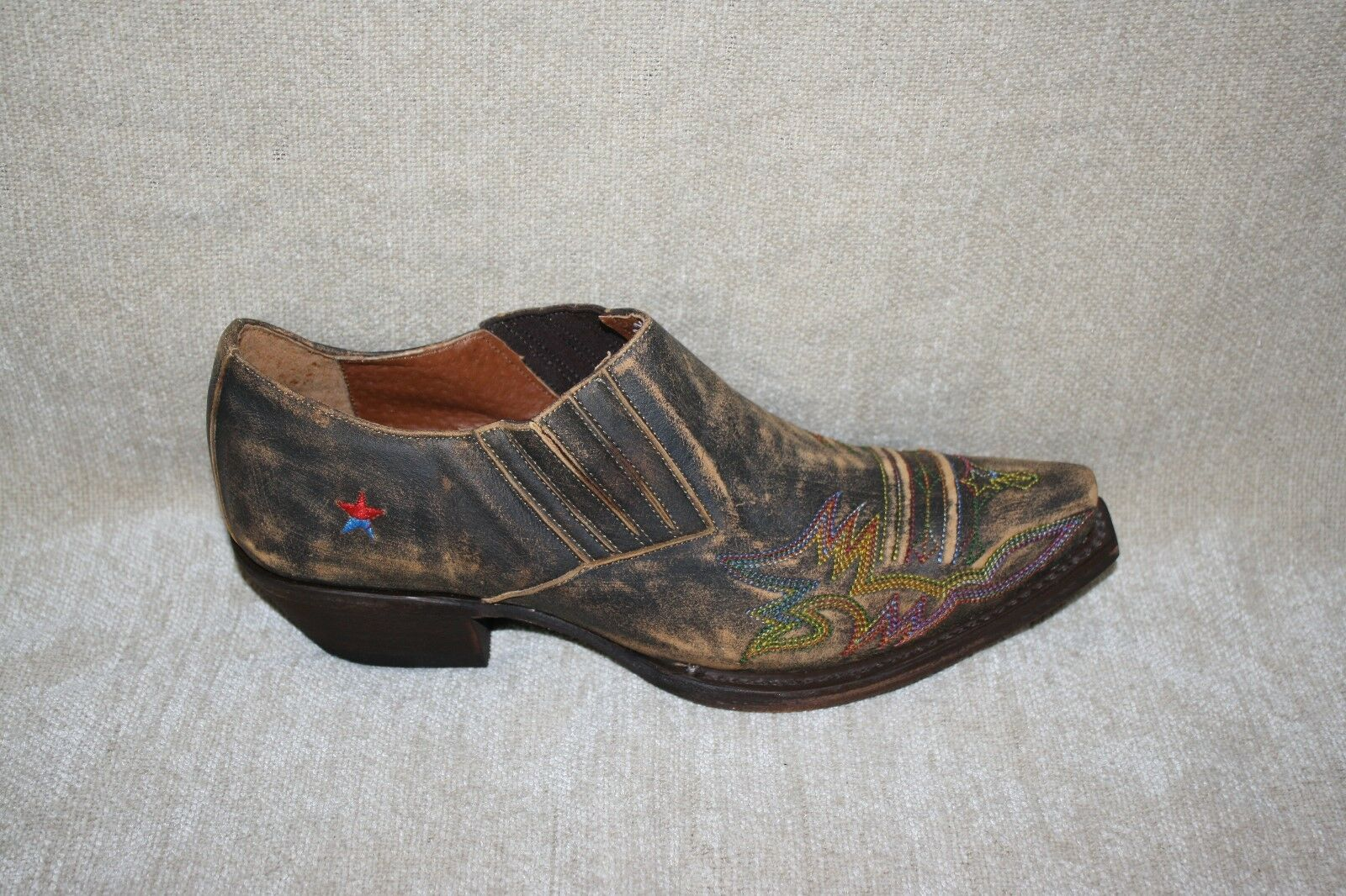 WOMENS REDNECK RIVIERA RR201 BROWN DISTRESSED ANKLE BOOTS-SEE SIZES (B228)