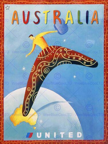 TRAVEL TOURISM AUSTRALIA UNITED AIRLINE BOOMERANG VINTAGE ADVERT POSTER 2305PY