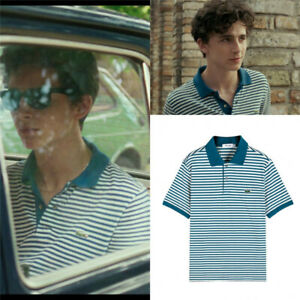 Call Me By Your Name Timothee Chalamet Elio Blue Stripe Polo T Shirt Cmbyn Top Ebay