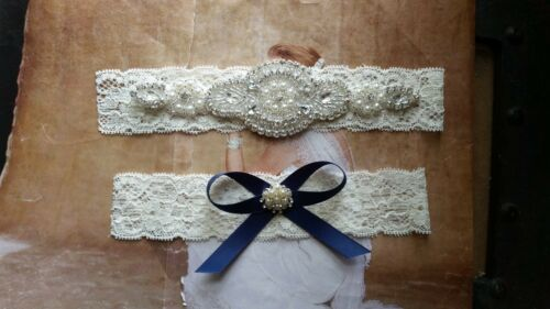 Wedding Garter Ivory Lace Keepsake /& Toss Garter Set Rhinestone Garter Set
