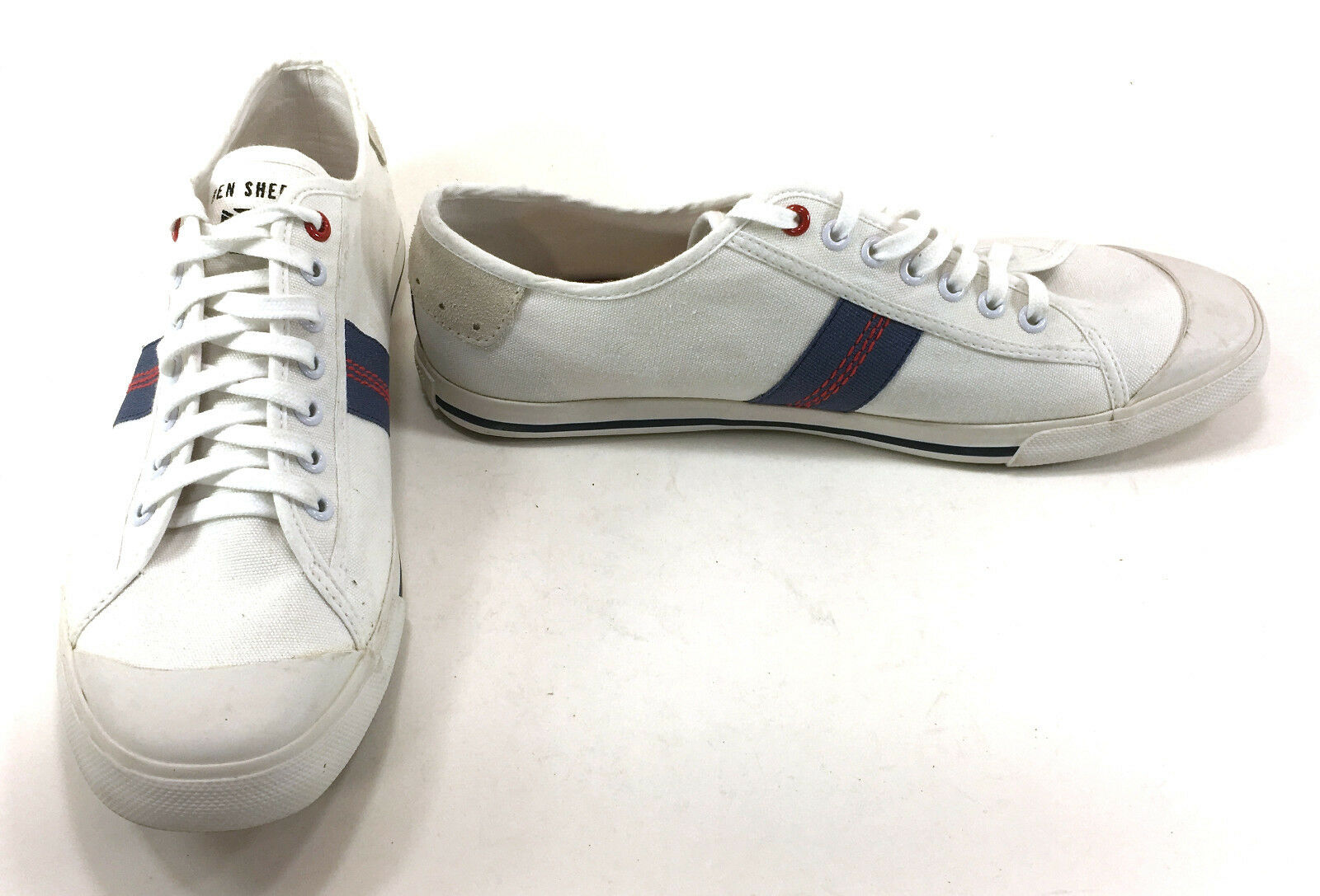 Ben Sherman shoes Canvas Lo White bluee Red Sneakers Size 11