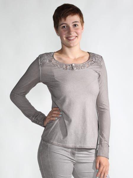 -30% Shirt Damen von Simclan mit Spitze am Ausschnitt in taupe, Gr. 42 44, neu