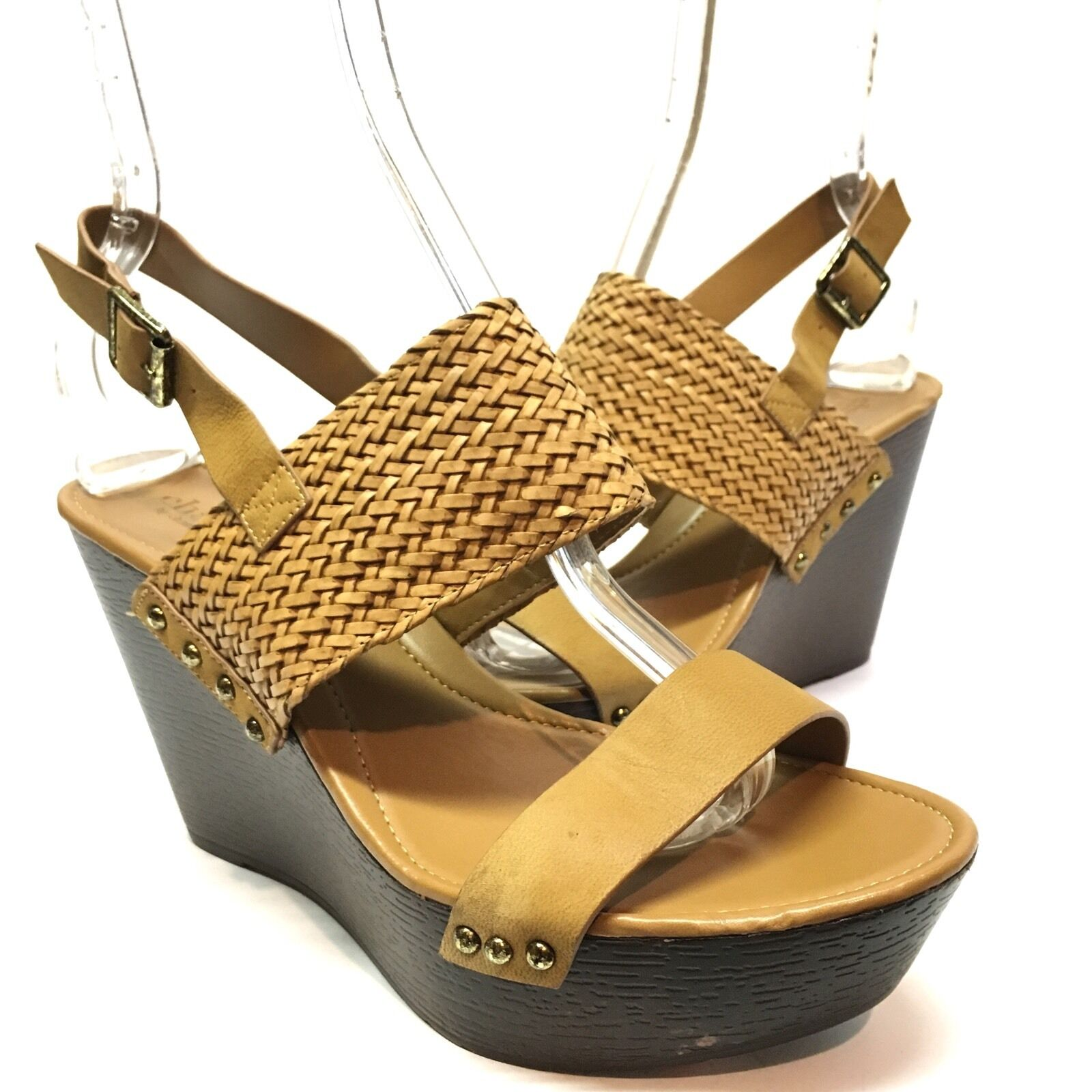Charles David 'Isola' Women's Brown Size Leather Slingback Wedge Sandals Size Brown 8.5 M* daa825