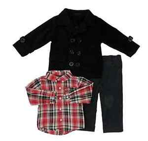 Only-Kids-Apparel-Baby-Boys-039-Three-Piece-Fleece-Jacket-Shirt-and-Pants-Set-12M