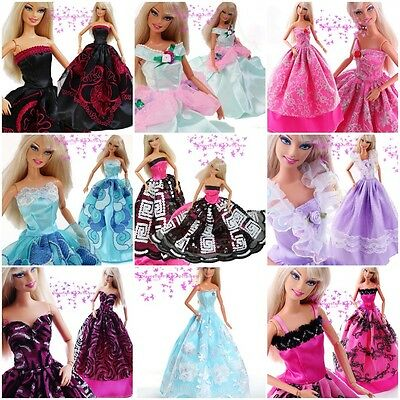 Lot 15 Items = 5 Pcs Fashion Handmade Dresses & Clothes 10 Shoes For Barbie Doll