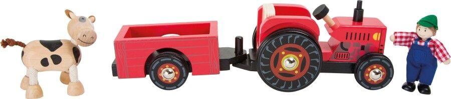 Fahrzeuge Traktor mit Anhänger Trecker Biegepuppen Holztraktor Holzauto