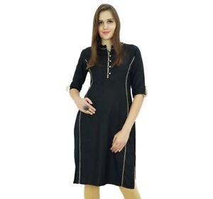 Bimba-Womens-Rayon-Tunic-Black-Kurta-Kurti-Indian-Ethnic-Black-Blouse
