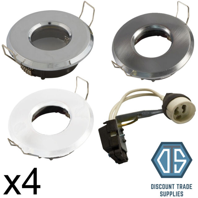 SATIN CHROME FIRE RATED IP65 BATHROOM SHOWER RECESSED CEILING DOWNLIGHT