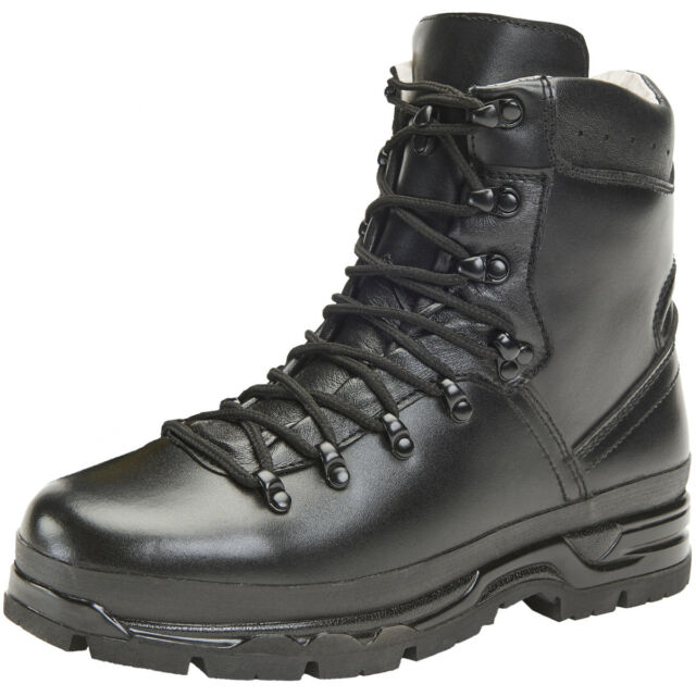 ce245fdcaee Brandit BW Mountain BOOTS Leather Hiking Tactical Outdoor Mens Footwear  Black UK 10 / EU 44