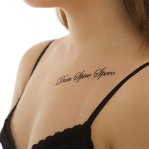 5 x dum spiro spero tattoo latein schriftzug spruch in schwarz 5 742288407200 ebay. Black Bedroom Furniture Sets. Home Design Ideas