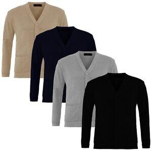 Mens-Plain-en-mailles-a-col-V-boutonne-cardigan-Fine-Tricot-Coton-Chaud-Tops-grande-taille