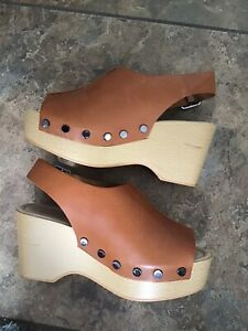 M\u0026S Wide Fit Tan Leather Wedge Sandals