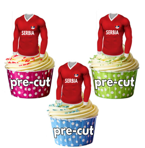 PRECUT Serbia Football Shirt Cupcake Toppers Cake Decorations