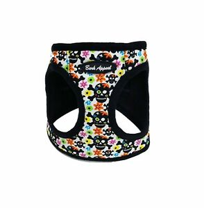 Bark-Appeal-Skull-amp-Flowers-Canvas-Mesh-Dog-Step-In-Harness-Sizes-XXS-XL