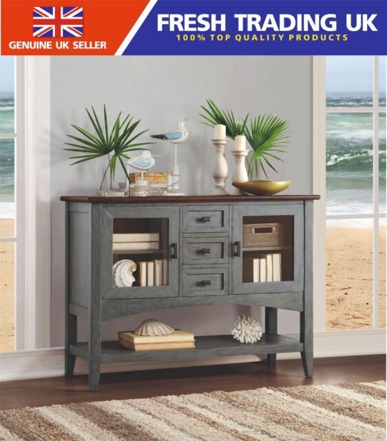 huge selection of f2641 d5586 Bayside Furnishings Accent Cabinet Grey/blue Sideboard Buffet Rustic Acacia  Wood