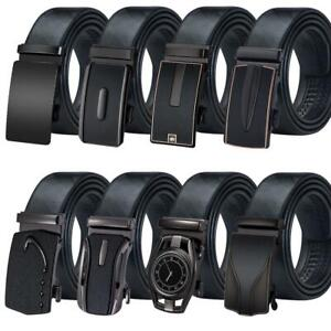 Black-Mens-Belts-Genuine-Leather-Straps-Alloy-Automatic-Buckle-Ratchet-Waistband
