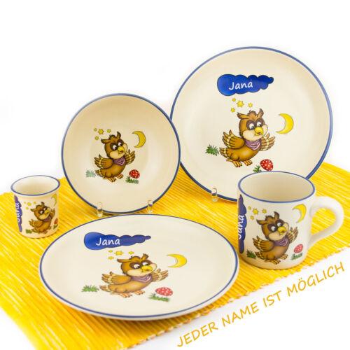 Kindergeschirr Set mit Wunschname 5-teilig Eule Keramik Teller Müslischale Tasse