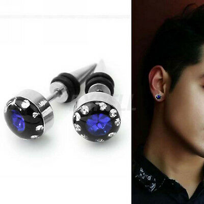 Fashion 2 Pcs Blue Crystal Stainless Steel Ear Stud Earring Men's Punk Gothic
