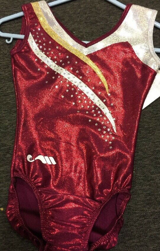 Christain Moreau impresionantes profundo Rojo oro Y Plata Gimnasia Leotardo 26  Talla 10