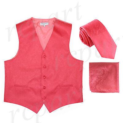 """New Men/'s Formal Vest Tuxedo Waistcoat/_2.5/"""" slim necktie set wedding brown"""