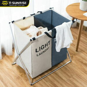 2-Section-Folding-Laundry-Clothes-Washing-Storage-Hamper-Bag-Basket-Dark-amp-Light