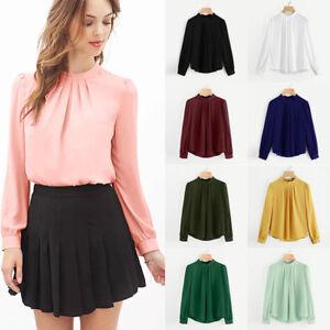 Fashion Summer Women Casual Chiffon Long Sleeve Ladies Shirt Loose ...