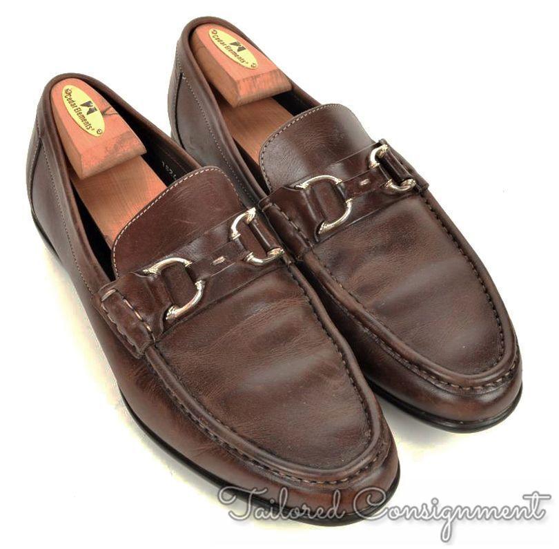 SANTONI Solid Brown Bit Loafer Leather Mens Dress shoes - 9