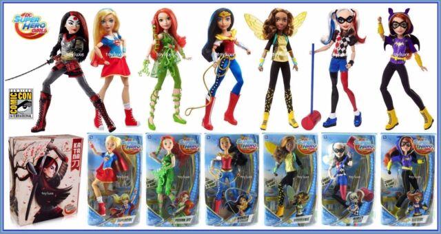 DC Super Hero Girls 7 Doll Set SDCC Katana Supergirl Batgirl Wonder Woman Harley