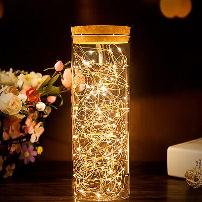 2m 20 LED Micro Mini Leuchtdraht Kupfer Draht Lichterkette biegsam weiß Batterie