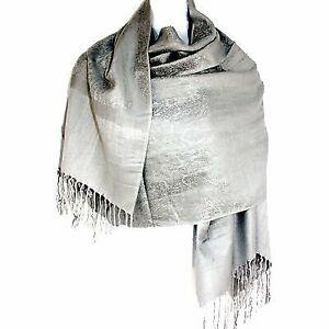 Jacquard-Paisley-Pashmina-Shawl-Scarf-Stole-Wrap-Silver-Gray-Elegant-Paisleys