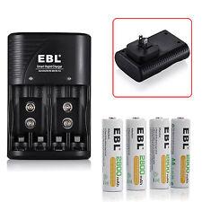 4Pcs 2800mAh AA Rechargeable Batteries + Ni-MH 9V AAA Ni-CD Smart Rapid Charger