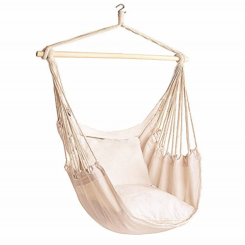 Bormart Hanging Rope Hammock Chair Large Cotton Weave Porch Swing Seat White For Sale Online Ebay
