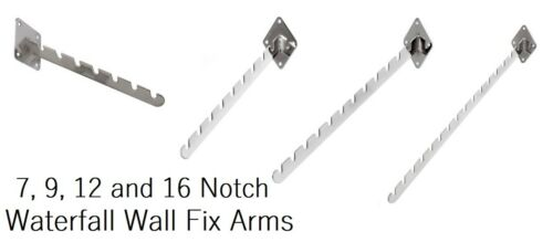 3 x Heavy Duty Notch Screw Fixing Waterfall Wall Mounted Sloped Clothes Rail Arm