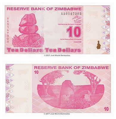 UNC Zimbabwe P 94-10 Dollars 2009 AA Prefix
