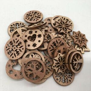 50pcs-Christmas-Snowflake-Wooden-Cardmaking-Hanging-Ornament-Embellishment-Craft