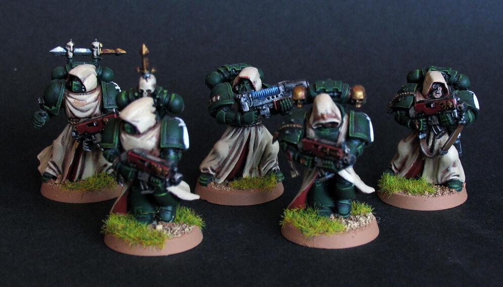 Pro målade Warhammer 40k Dark Angels Veterantrupp miniatyr