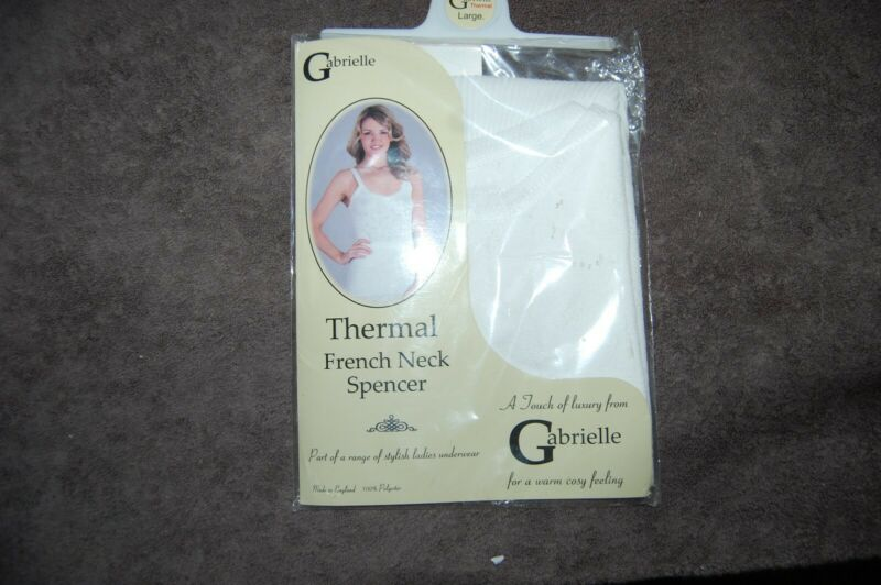 Gabrielle Thermal French Neck Spencer White Size Large Bnip