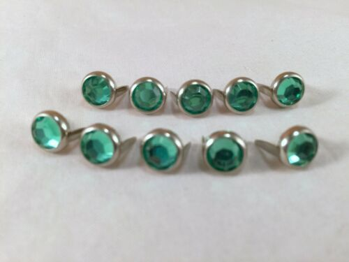 "Rim Set Acrylic Crystal Spots for Leather Bright Green 2 Prong 1//4/"" 5//16/"""